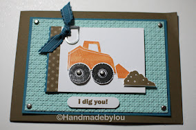 Stamps:  I Dig You, Paper:  Soft Suede, Island Indigo, Pool Party, Whisper White; Ink: Pumpkin Pie, Soft Suede, basic Black; Other: Big Shot, Lattice embossing folder, Brads, library clips, island Indigo ribbon, ribbon punch