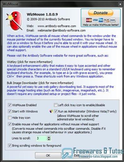 WizMouse : un logiciel gratuit pour améliorer la gestion de la roulette de la souris