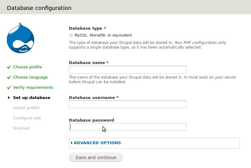 Drupal Database Install