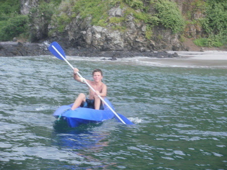 My son Blake kayaking during a trip to Isla Salango outside of Puerto Lopez, Ecuador