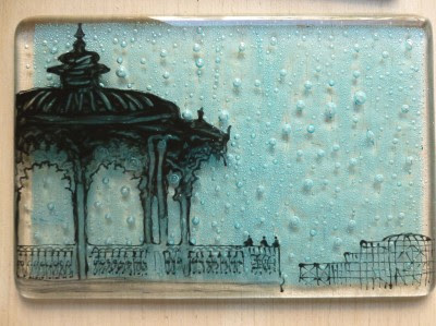 Suzanne O'Leary: Illustrated Glass Tile - Palace Pier at Little Beach Boutique