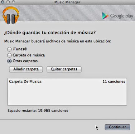 Music Manager ruta de subida