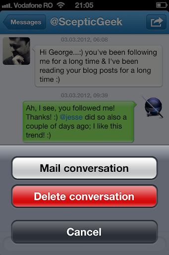 Archive direct messages in Twitter for iOS
