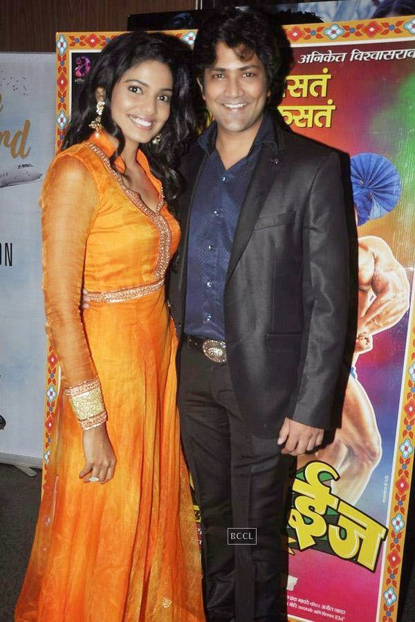 Pooja Sawant and Aniket Vishwasrao during the screening of Poshter Boyz, in Mumbai, on July 30, 2014. (Pic: Viral Bhayani)