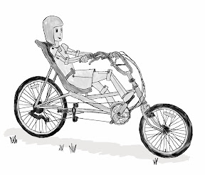 Metal Molly on bicycle