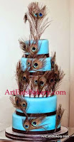 Four tier blue fondant custom peacock feather moodern wedding cake design