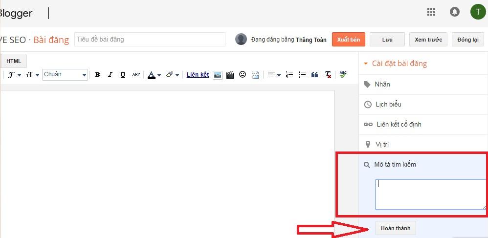 Chèn thẻ meta description vào blogspot cho từng bài viết