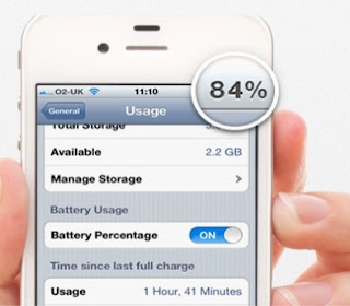 % Batery details on i Phone