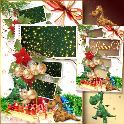 Новогодняя рамка-плакат - Фотографии с дракошами