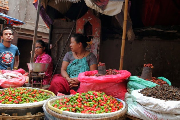 Street vendor selling fiery hot chillies at Kathmandu