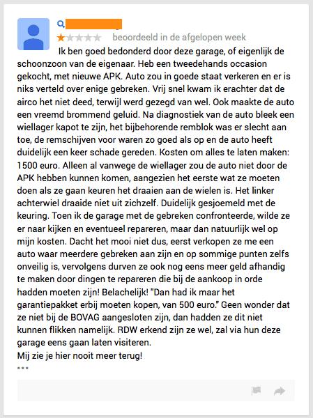 Review autogarage Apeldoorn