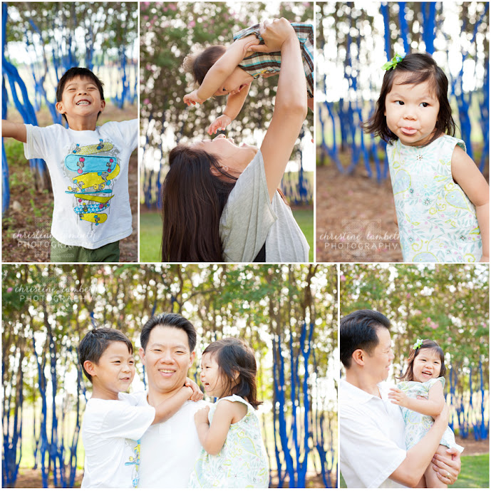 Kids being silly for family photo session in Houston blue trees