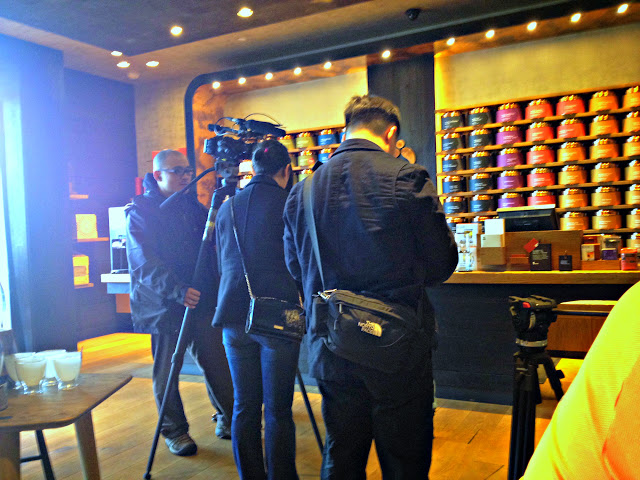 Film crew from Starbucks in for a local web video shoot.