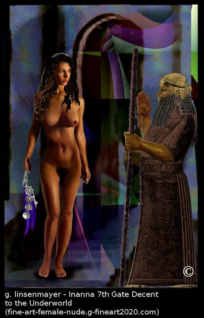 Jean, as Inanna. an original digital fine art painting, in her decent to the underworld. It is based on my own original earlier studies, jean, paintings and drawings. Why does Inanna go down into Hell? Neither the Sumerian nor the Akkadian versions of Inanna's Descent to the Underworld tells us why she goes there.