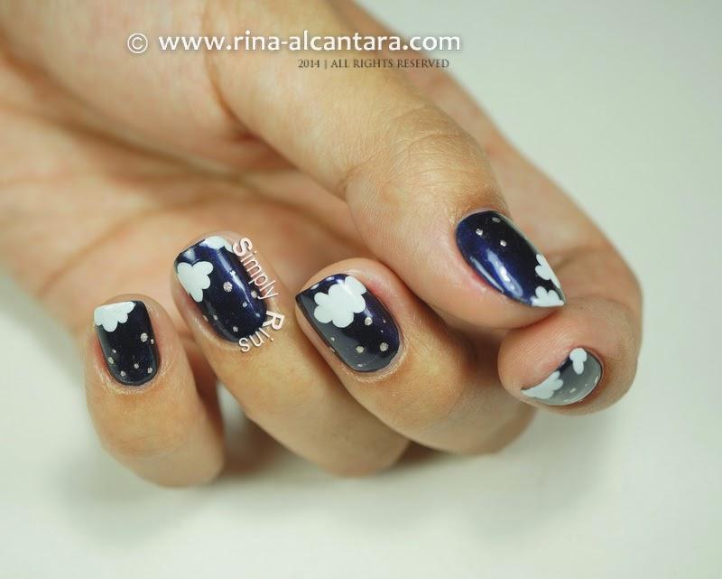 a night scene inspired nail art