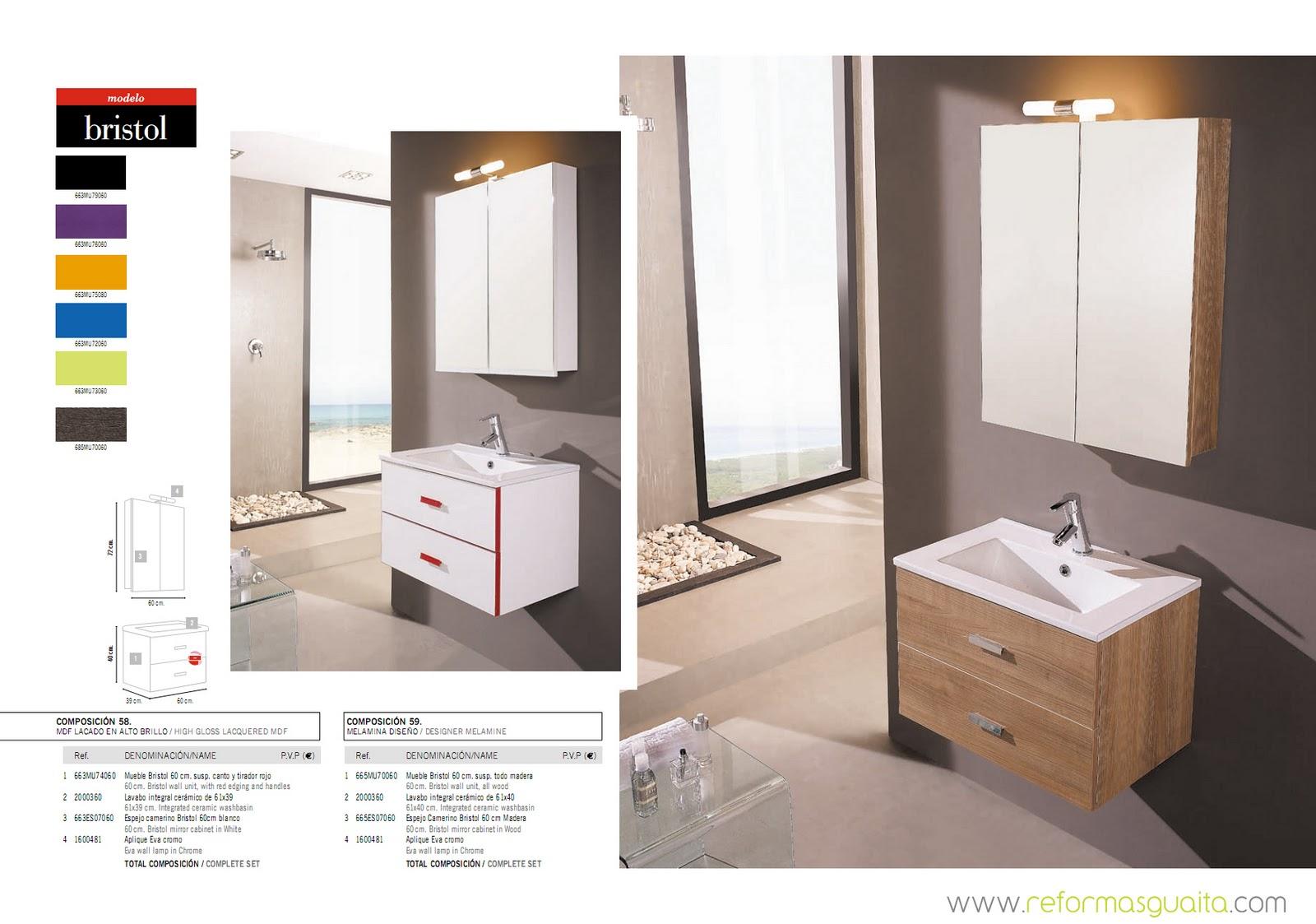 Bristol muebles de fondo reducido a 40 cms reformas guaita for Mueble lavabo fondo reducido