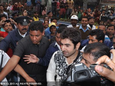 Tollywood actor Jeet as he enters the venue where Koel Mallick and Nispal Singh Rane got married.
