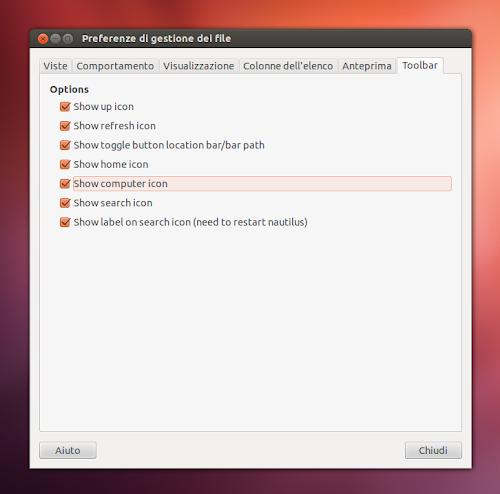 Nautiluspatch su Ubuntu 12.04 - toolbar
