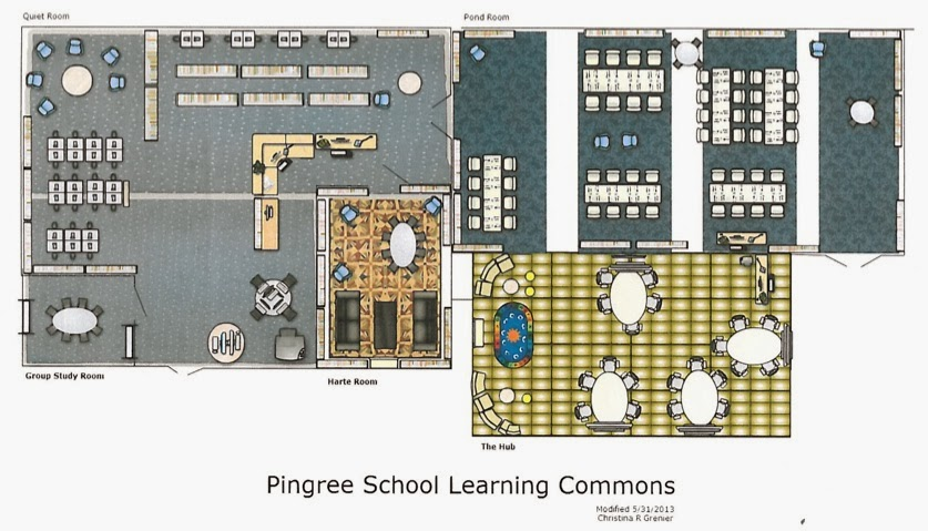 Image map of the Pingree School's Learning Commons' Layout.