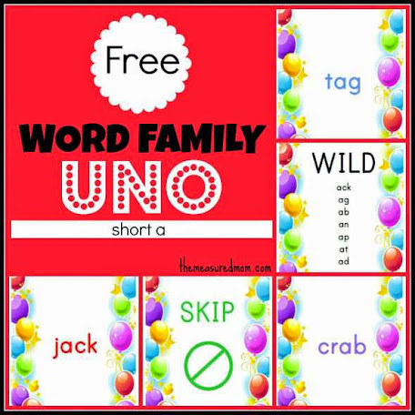 Free Word Family Game: Uno (short a) by The Measured Mom