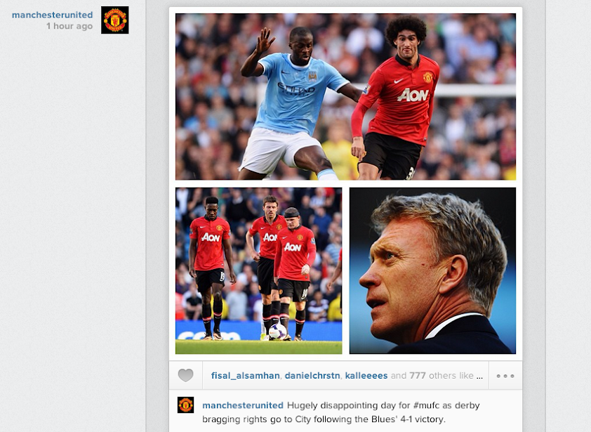 Manchester United post Instagram picture montage of 4 1 defeat at Man City