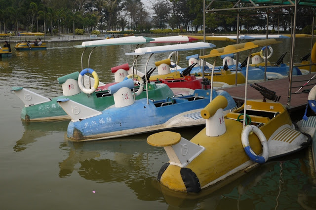 Parked boats with fake guns at a park in Zhuhai, China
