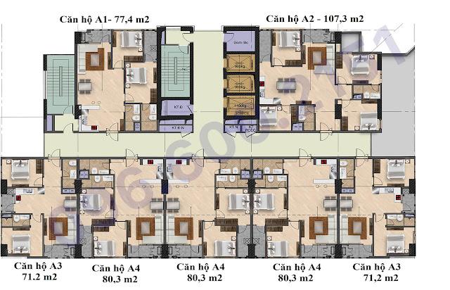 Mặt bằng tòa A chung cư Garden Hill - 99 Trần Bình