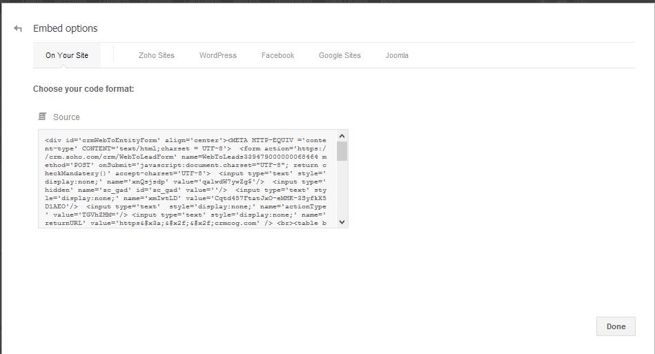 zoho web forms code