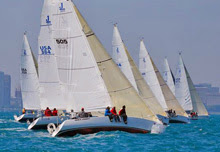J/105 one-design sailboat fleet- sailing off Chicago, IL