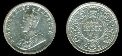 1911-Genuine-Half-Rupee
