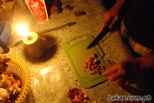Chopping at candlelight