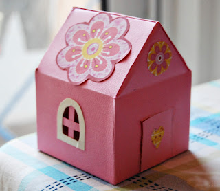 pink cardboard house gift box