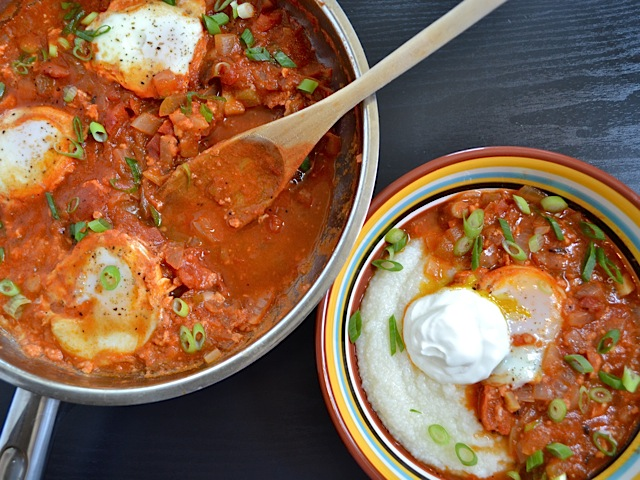 serve poached eggs in salsa with grits