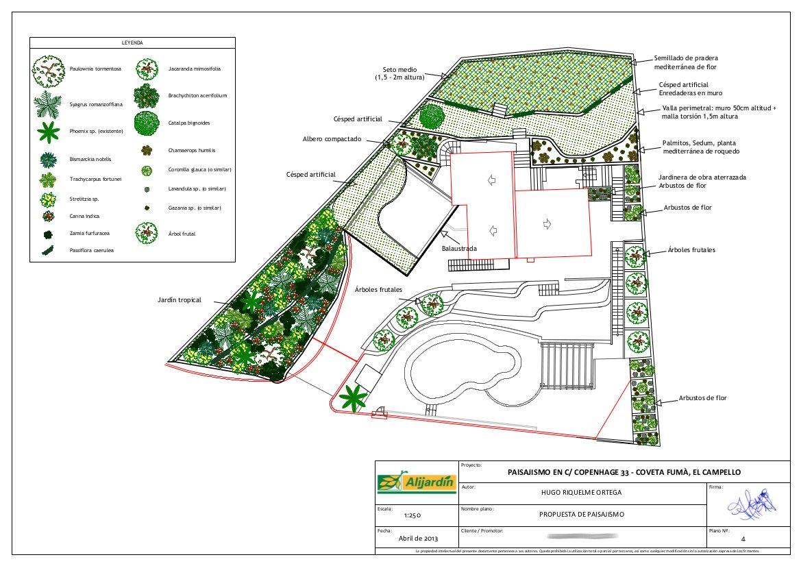 proyecto de paisajismo diseo jardn jardinera tropical mediterrneo csped terrazas plano planos