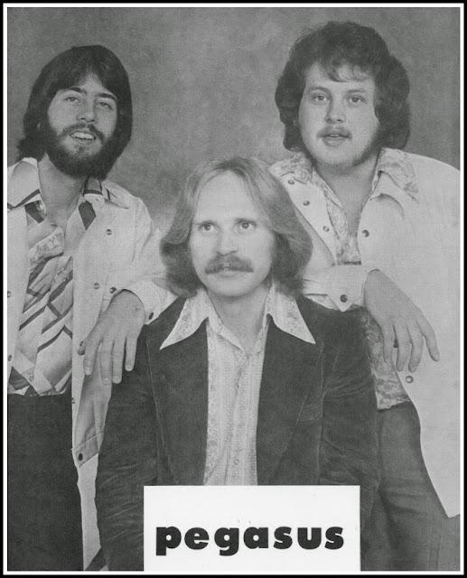 The group, Pegasus. Rene Fabre, Dave Hoskin, Grant Stott, 1975.
