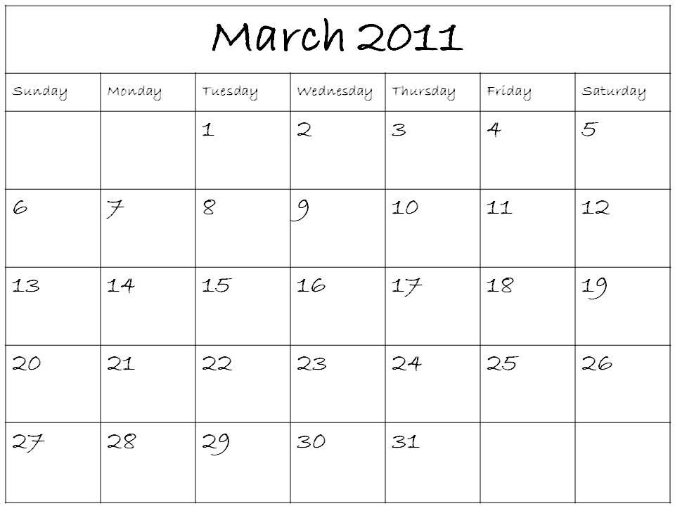 march calendar 2011. DIY Blank Calendar 2011 March