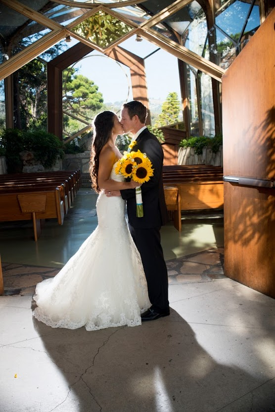 Bridal couple at  Wayfarer's Chapel, Rancho Palos Verdes, CA-United States of America