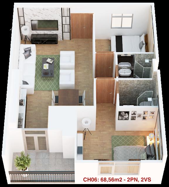 Thiết kế căn hộ 06 tháp doanh nhân