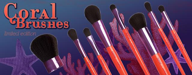 Neve Cosmetics Coral Makeup Brushes