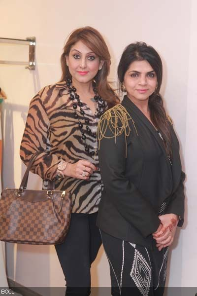Meenaxi Dutt and Rooma Sekhri during Kanika Jain's new collection launch at 114 Shahpur Jat, Delhi.