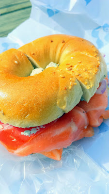 Russ & Daughters classic bagel  sandwich, a bagel with your choice of cream cheese and smoked salmon