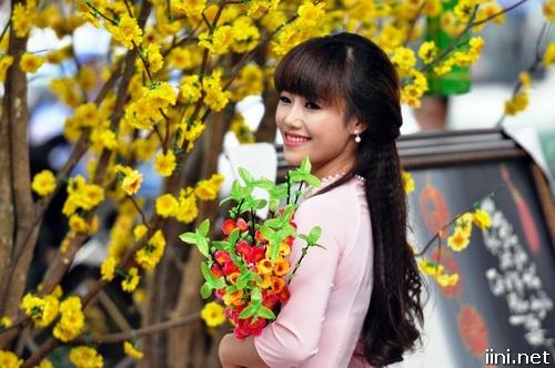 ảnh cô gái xinh đẹp bên cây mai ngày Tết