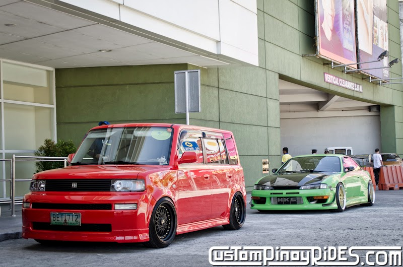 Red Toyota bB stanced on Black BBS RS Mesh Wheels Custom Pinoy Rides Car Photography Manila Philippines pic5