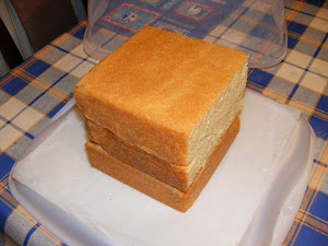 Three four inch square cakes, stacked to form a cube