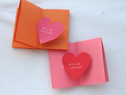 another pop-up with paper hearts glues in