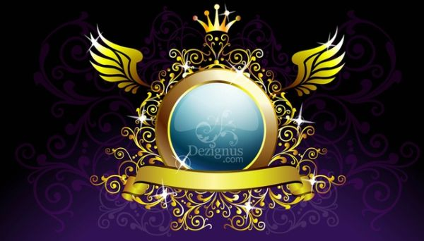 Grunge Free Gold Decoration Shield Graphics