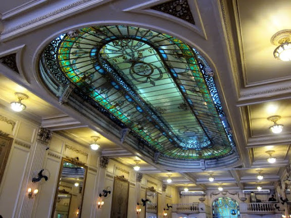 Ceiling of the historic Colombo Coffee House in Rio de Janeiro Brazil