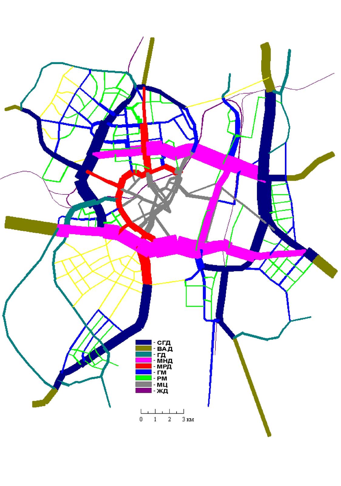 11. Основной  вариант развития МУДС, совмещенный с картограммой автомобилепотоков по категориям магистралей