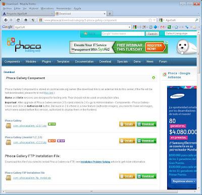 Instalar Phoca Gallery en Joomla!