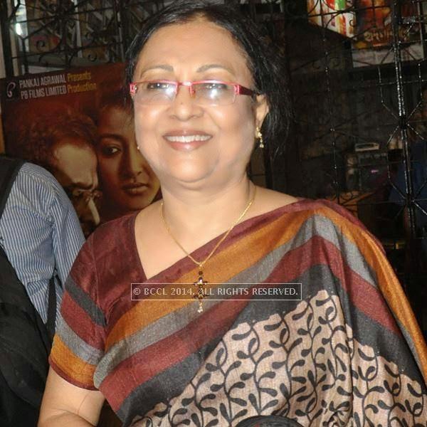 Alokananda Roy during the premiere of Ranjan Ghosh's movie Hrid Majhare at Priya in Kolkata.
